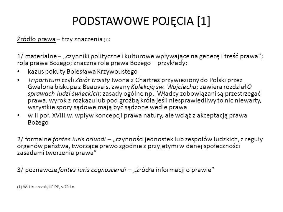 PODSTAWOWE POJĘCIA [1] Źródło prawa – trzy znaczenia (1):